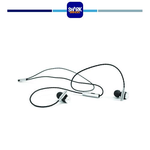 Fones de ouvido com fios em metal e ABS